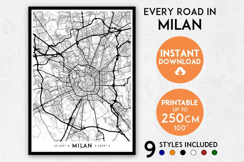 Milan map print Milan print Milan city map Italy map Milan | Etsy