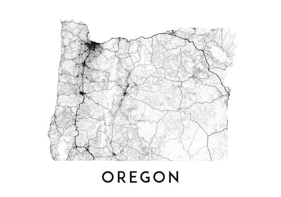 Printable Oregon Map.Oregon Map Print Printable Oregon Map Art Oregon Print Usa Etsy