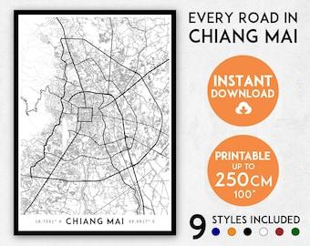 Chiang Mai map print, Chiang Mai print, Chiang Mai city map, Chiang Mai poster, Chiang Mai wall art, Map of Chiang Mai art, Thailand map