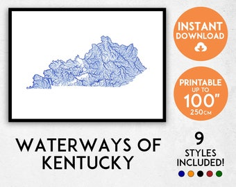 Kentucky map print, Kentucky print, USA map print, Kentucky poster, Kentucky wall art, Map of Kentucky, Kentucky art print, Kentucky gift