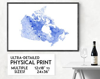 Waterways of Canada print | Physical Canada map print, Canada poster, Canada wall art, Canada map art, Canada art, Canada gift, Canada decor