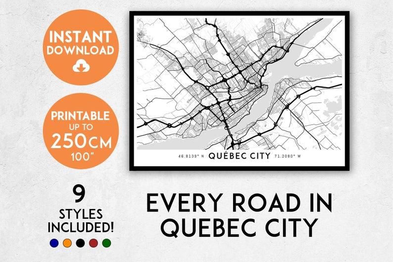 Quebec City Map Print Quebec City Print Quebec Map Canada Etsy