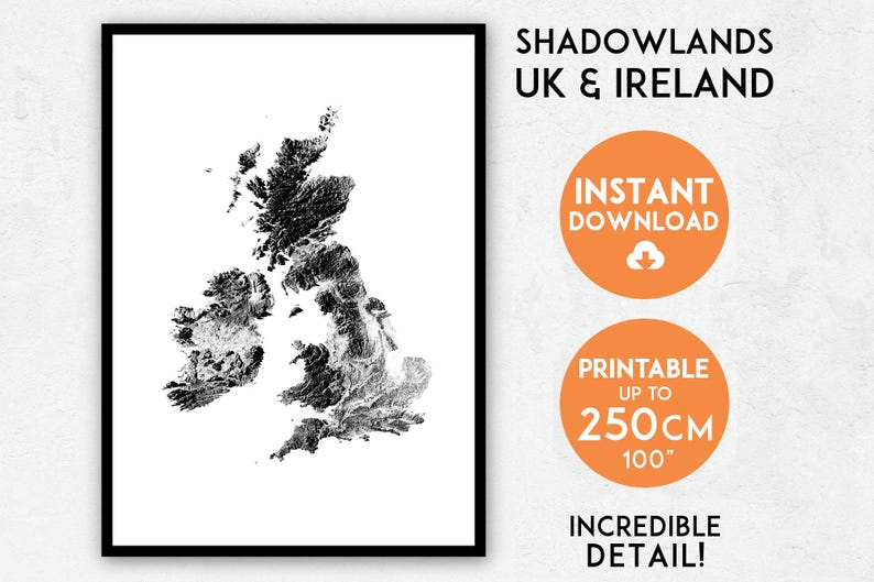picture relating to Printable Map of Uk and Ireland named Shadowlands United kingdom Eire map print, United kingdom print, England map, England print, England wall artwork, United kingdom map, England poster map, Eire poster