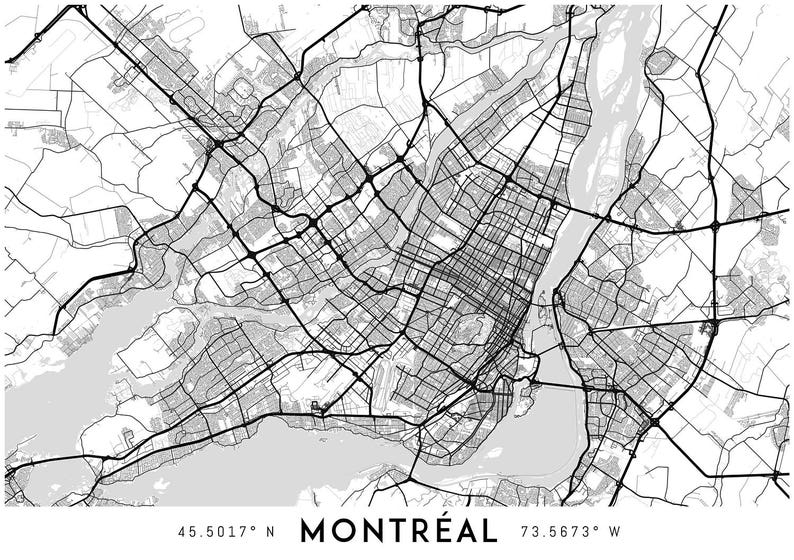 image about Printable Map of Montreal called Montreal map print, Montreal print, Montreal town map, Montreal poster, Montreal wall artwork, Map of Montreal, Montreal artwork print, Quebec map