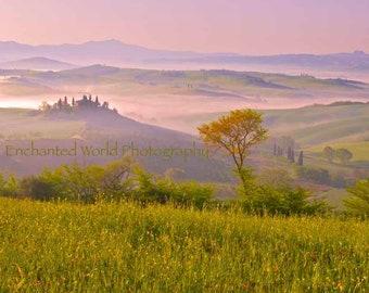 Tuscany art print, Tuscan Landscape photo, Val d Orcia print, Italian Villa print, Italy photography,  photo of Tuscany, Italy hill town art