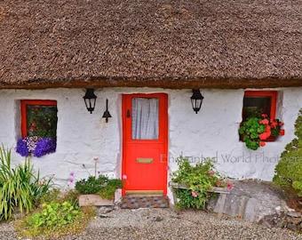 Ireland photography, Thatched cottage photo, Charming Irish decor, Ireland gift, Connemara Ireland, Door art print, Doors of Ireland photo