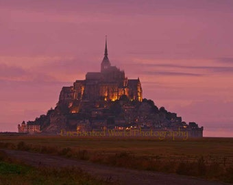 Mont St Michel photo, Normandy France print, Abbey photo, French village print, French wall decor, Mont St Michel art photo, French gift