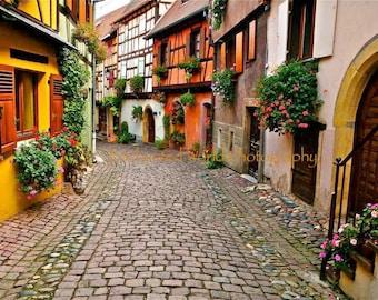 Alsace France print, Eguisheim France photo, Route de Vin photo, Cobblestone village photo, France photography, Alsace wine road print