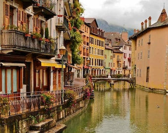 Annecy France photo, French village art print, Victorian girls art print, France photography, French wall decor, French travel photo