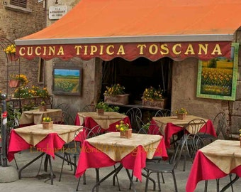 Tuscan cafe print, Montepulciano photo, Tuscan hill town photo, Italy cafe photo, Cucina Tipica Toscana, Italy photo, Restaurant wall decor