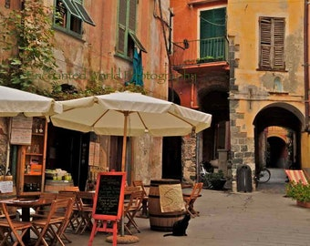 Cinque Terre photo, Monterosso art print, Black cat art print, Italy photography, Italy cafe photo, Italian Riviera photo, Restaurant decor