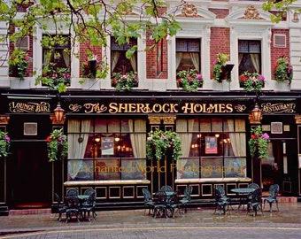 Sherlock Holmes print, English pub photo, London photography, Sherlock Holmes gift, London Pub photo, Bar wall decor, Sherlock Holmes decor
