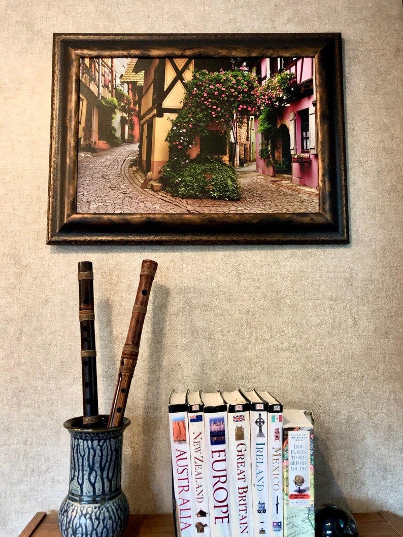 Route du vin print Alsace France Framed Canvas photograph photo of France Eguisheim print French village scenes French wall decor