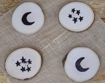 The Moon & Stars Set • Handmade Wood Burned Coasters