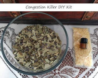 Congestion Killer Kit, Vapor Rub, Natural, Home Apothecary, DIY Herbal Kit, Respiratory Care, Medicinal Ointment, Kitchen Witch, Herbal Kit