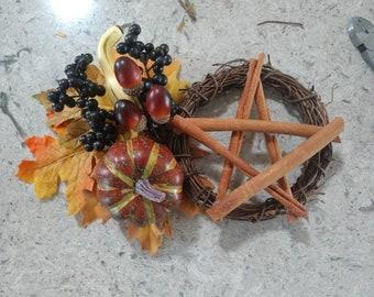 Autumn Harvest Protection Wreath, Wheel of the Year Altar Wreath