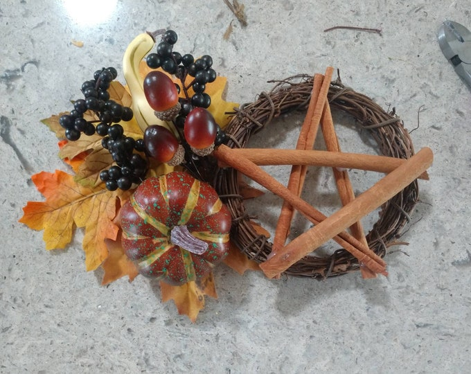 Featured listing image: Autumn Harvest Protection Wreath, Wheel of the Year Altar Wreath