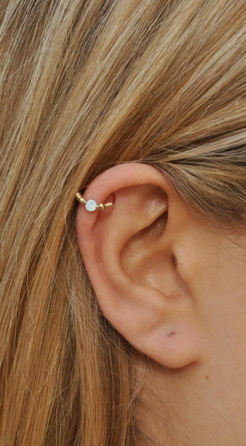 Withe Opal Cartilage Earring  Gold Cartilage Hoop  Cartilage image 0