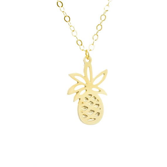 Zierliche Ananas Ananas Anhänger Halskette Gold gefüllt Kette Obst Halskette