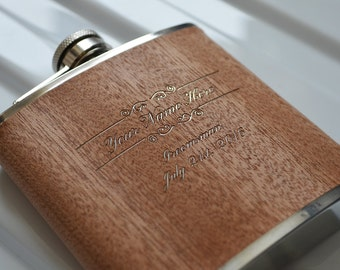 Engraved Sapele Hip Flask. Uniquely Perfect Groomsmen Gift. Stainless Steel 6oz Flask with Sapele Veneer.