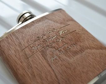 Engraved Walnut Hip Flask. Uniquely Perfect Groomsmen Gift. Stainless Steel 6oz Flask with Walnut Veneer.