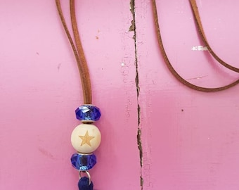 Essential Oil Wood Bead Pendant Necklaces with navy tassel FREE AUS POSTAGE