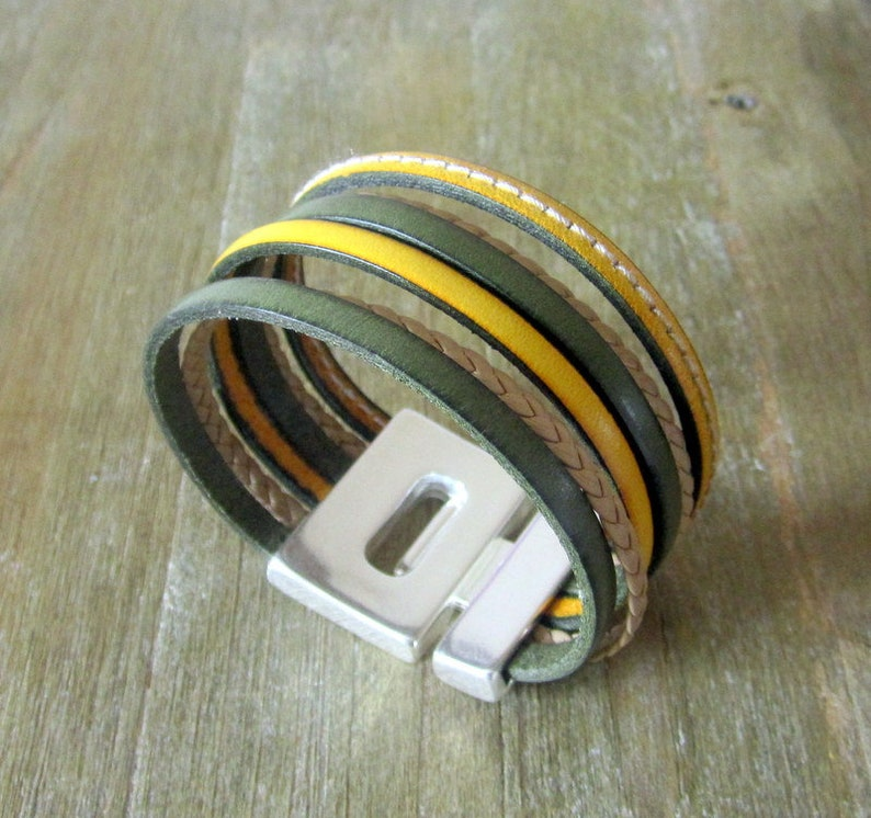 for women and men Leather cuff yellow and taupe braided Khaki
