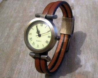 Watch dial Bronze, Bronze magnetic clasp, Brown Leather Bracelet