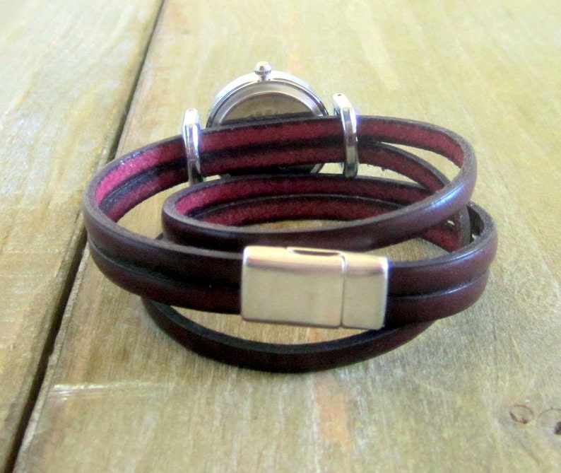 Burgundy leather strap watch ideal for her