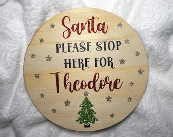 Santa Stop Here Sign - Personalised Christmas Decor - Santa Stop Here Plaque