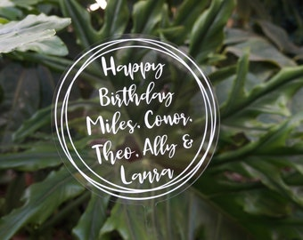 15 cm Round Acrylic Cake Topper with Vinyl Decal - Personalised Cake Topper - Any Occasion