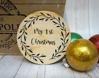 My First Christmas Wooden Plaque - 15 cm diameter - Baby's First Christmas - Christmas Decoration