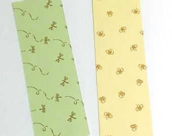 Double sided Spring Bookmark , Bee's . Dragonfly , Yellow , Green , Gift , Reading , Bookworm , Page Keeper