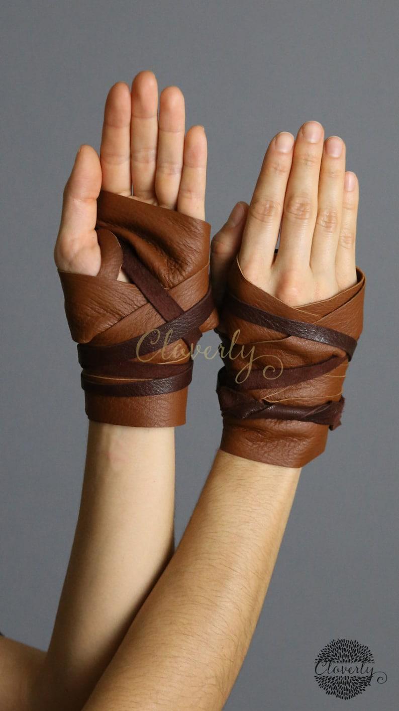 Leather Hand Wraps  Wonder Woman Costume Steampunk Daenerys Fingerless Glove Mad Max Game of Thrones Elf Warcraft Cosplay Tribal Halloween