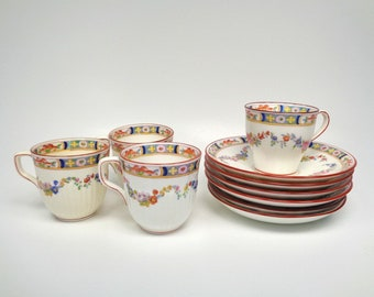 Minton Rose A4807 Bone China Demitasse Cups & Saucers - Antique Minton Older Smooth and Ribbed Cups and Saucer Set Floral Rose w/swags
