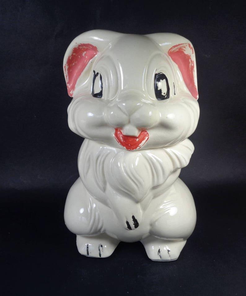 Disney Cookie Jar Etsy >> Rabbit Cookie Jar 40s Thumper From Bambi Ceramic Pottery Jar Disney Memorabillia
