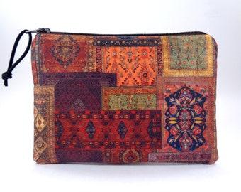 Oriental Carpets Zipper Pouch, Boho Turkish Rug Coin Pouch, Small Fabric Coin Zipper Bag