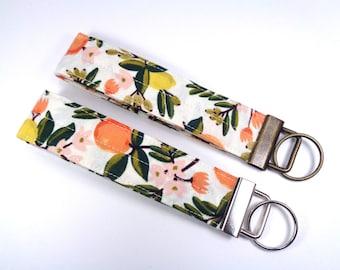 Rifle Paper Co Fabric Key Fob, Primavera Fruit Wristlet Keychain, Cotton + Steel Wrist Loop Key Lanyard
