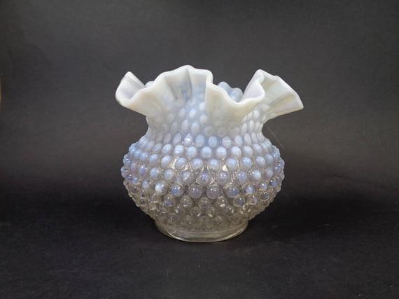 Vintage Fenton White Hobnail Vase Clear White Opalescent Etsy