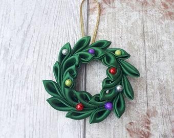 Handmade mini wreath  christmas decoration, kanzashi