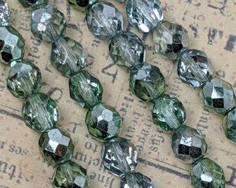 Czech Firepolish 8mm Light Green Erinite and Back Coated Gunmetal-Green Color Glass Beads - 4 Strand Lot (63 Beads), Press Glass Beads