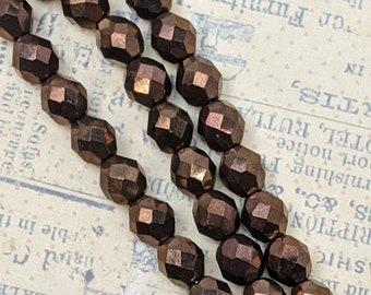 Czech Firepolish 8mm Bronze Glass Beads - 3 Strand Lot (48 Beads), Press Glass Beads