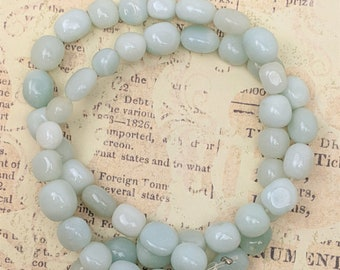 """Light Blue Varied Size and Color Quartz Beads - Full Strand Lot - 15-1/2"""" - Gemstone Nugget Beads"""