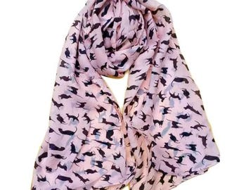 BNWT Fine Cotton Scarf with Cat Print