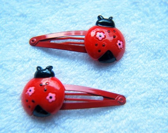Ladybird Snap Hair Clips - Pack of 2 - Red