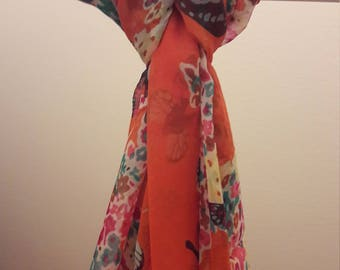 Butterfly Scarf - Orange with many other colours