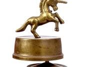 Vintage Brass Unicorn Music Box