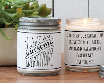 Have An Awesome Birthday Soy Candle   Birthday Gift   Birthday Card   Send a Birthday Gift   Birthday Candle   Birthday Cake Scented Candle