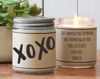 XOXO Candle Greeting - I Love You Gift / Romantic Gift / Boyfriend Gift /Valentine's Day Gift/Husband Gift / Hugs and Kisses Gift