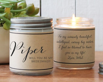 Will you be my Bridesmaid Candle Gift | Will you be my Maid of Honor Gift | Bridesmaid Candle | Maid of Honor Candle | Wedding Candle